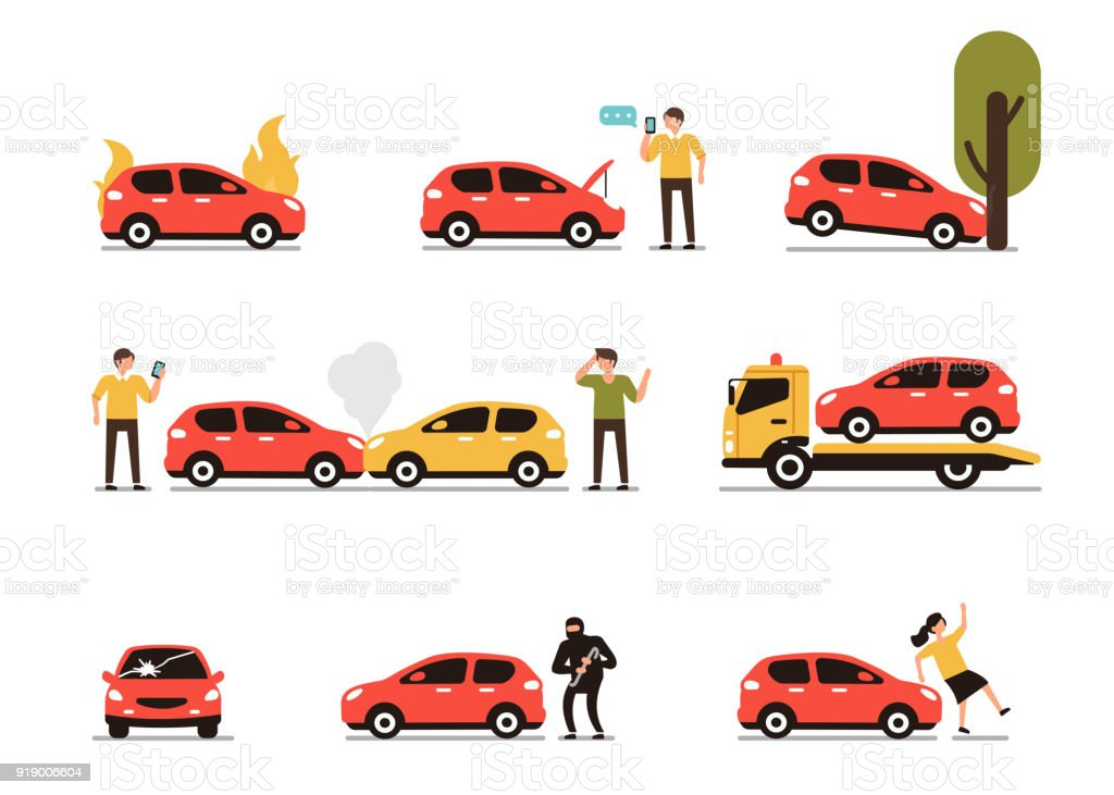 Car accidents Different car accidents with people. Types of Insurance cases.  Flat style minimal vector illustration isolated on white background. Accidents and Disasters stock vector