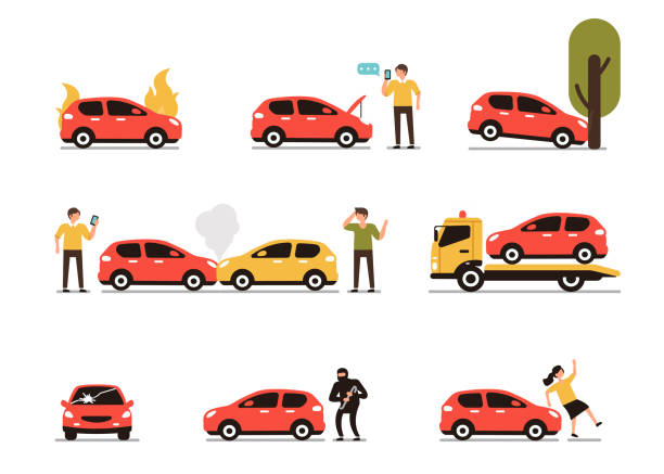 Car accidents Different car accidents with people. Types of Insurance cases.  Flat style minimal vector illustration isolated on white background. car stock illustrations