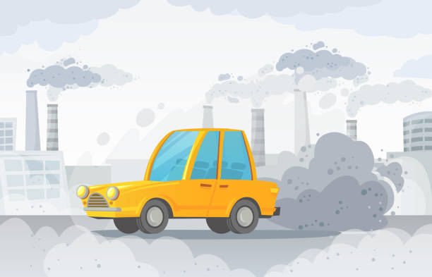 stockillustraties, clipart, cartoons en iconen met auto luchtvervuiling. city road smog, fabrieken rook en industriële kooldioxide wolken vector illustratie - vervuiling