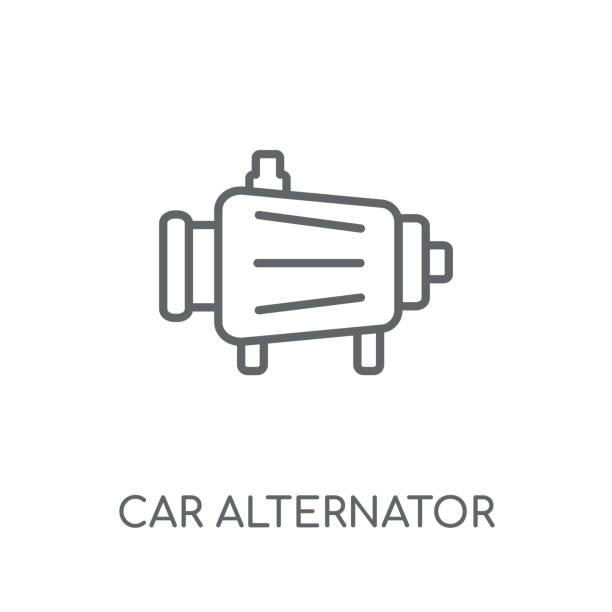 car alternator linear icon. Modern outline car alternator logo concept on white background from car parts collection vector art illustration