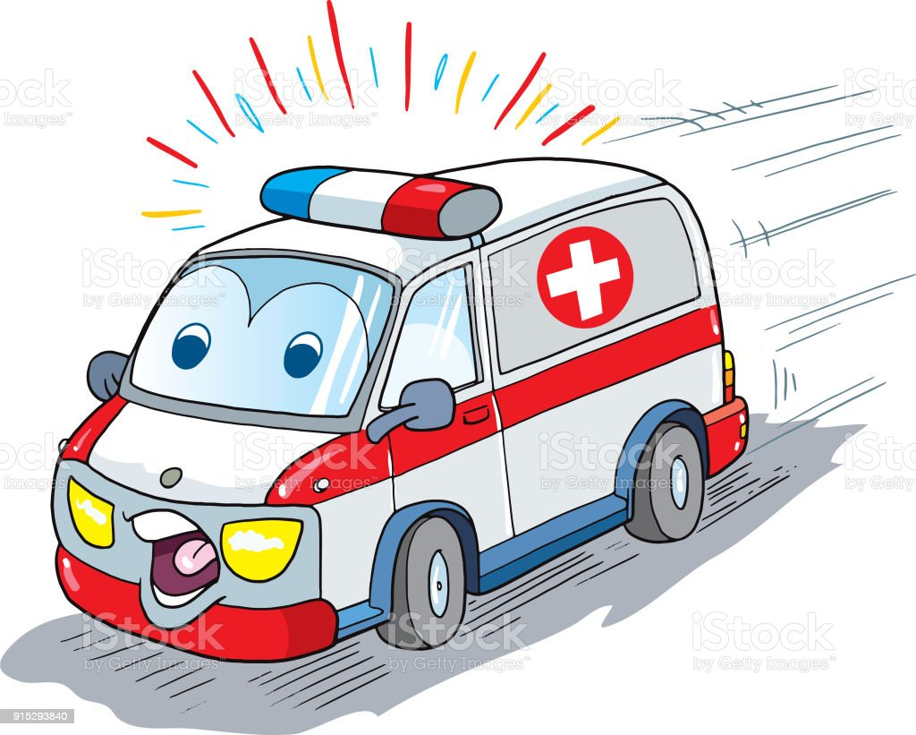 royalty free funny ambulance cartoon clip art vector images rh istockphoto com clipart ambulance clipart ambulance pictures