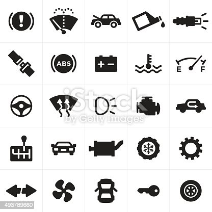 Car, vehicle and automotive symbols. Includes symbols for car maintenance, driving safety, car repair and car parts symbols.