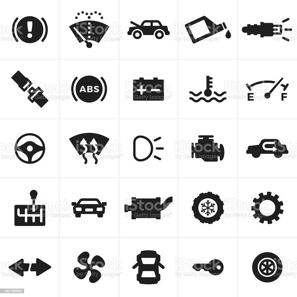 Car and Automotive Symbols and Icons vector art illustration