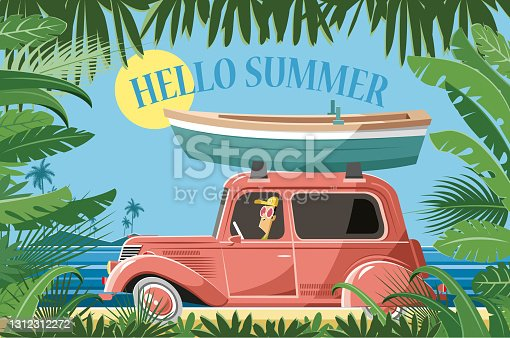Easy editable vintage car and boat vector illustration. All elements was layered seperately...