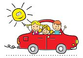 Car and children. Kids are going on the trip. Humorous vector illustration.