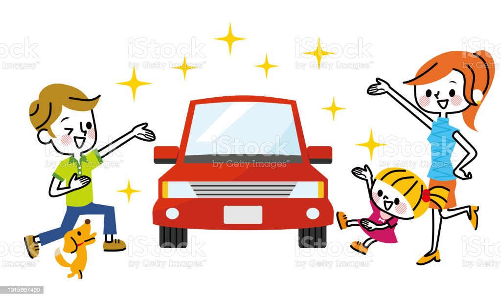 Car and family. vector art illustration