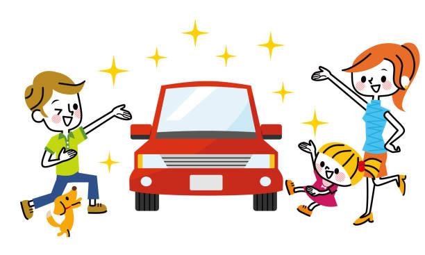 車と家族。 - 家族 日本点のイラスト素材/クリップアート素材/マンガ素材/アイコン素材