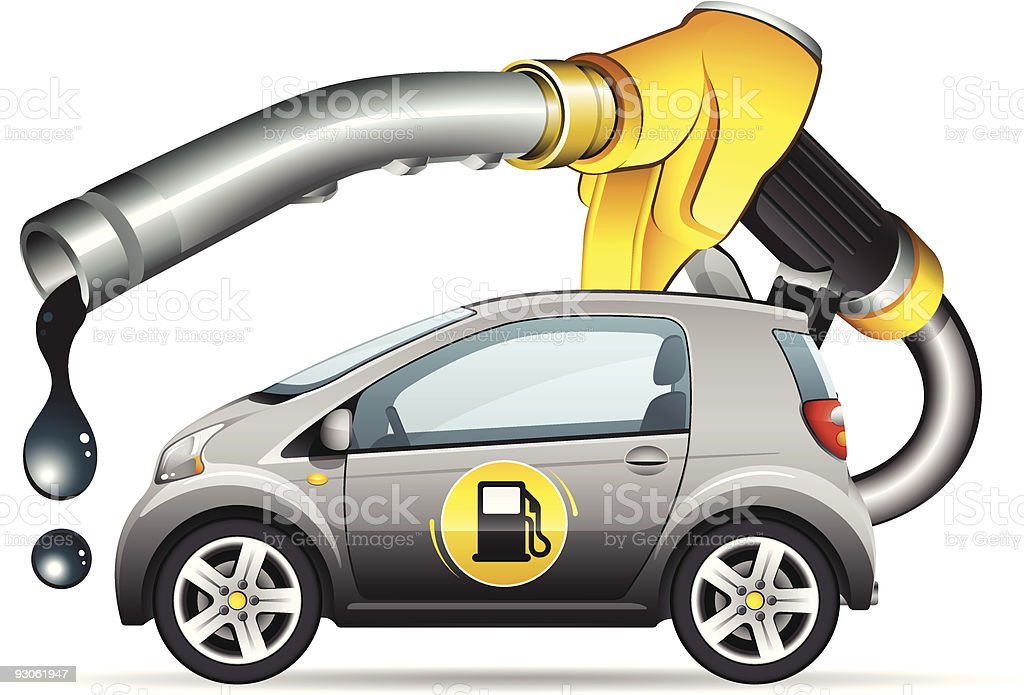 Car and fuel nozzle royalty-free stock vector art