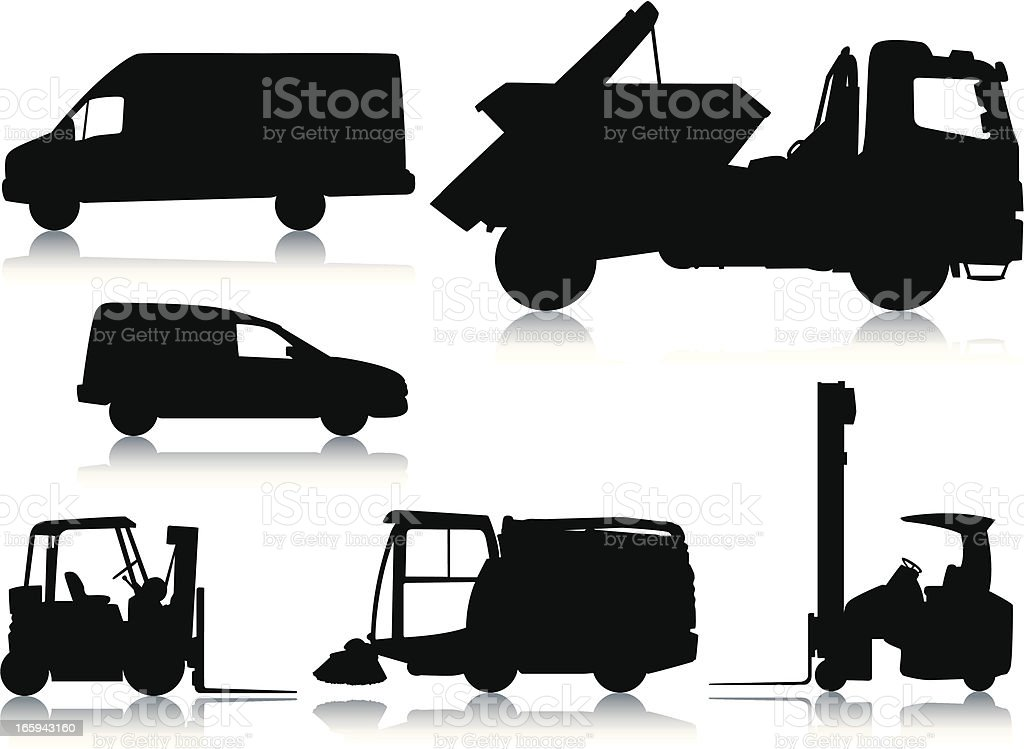 Car and heavy industry silhouettes royalty-free stock vector art