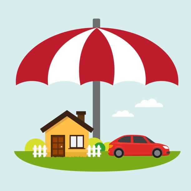 Icono de seguros coche y hogar - ilustración de arte vectorial