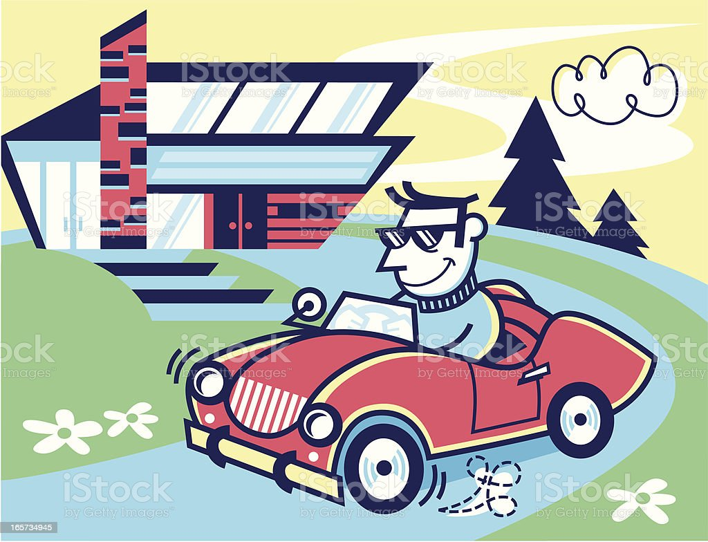 car and house vector art illustration