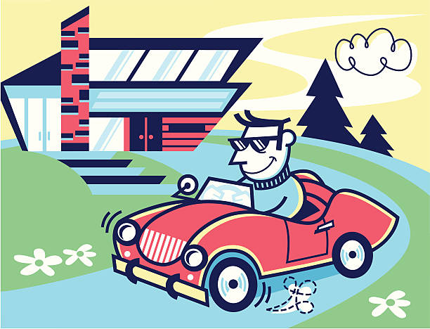 car and house - peter bajohr stock illustrations, clip art, cartoons, & icons