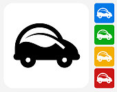 Car and Leaf Icon. This 100% royalty free vector illustration features the main icon pictured in black inside a white square. The alternative color options in blue, green, yellow and red are on the right of the icon and are arranged in a vertical column.