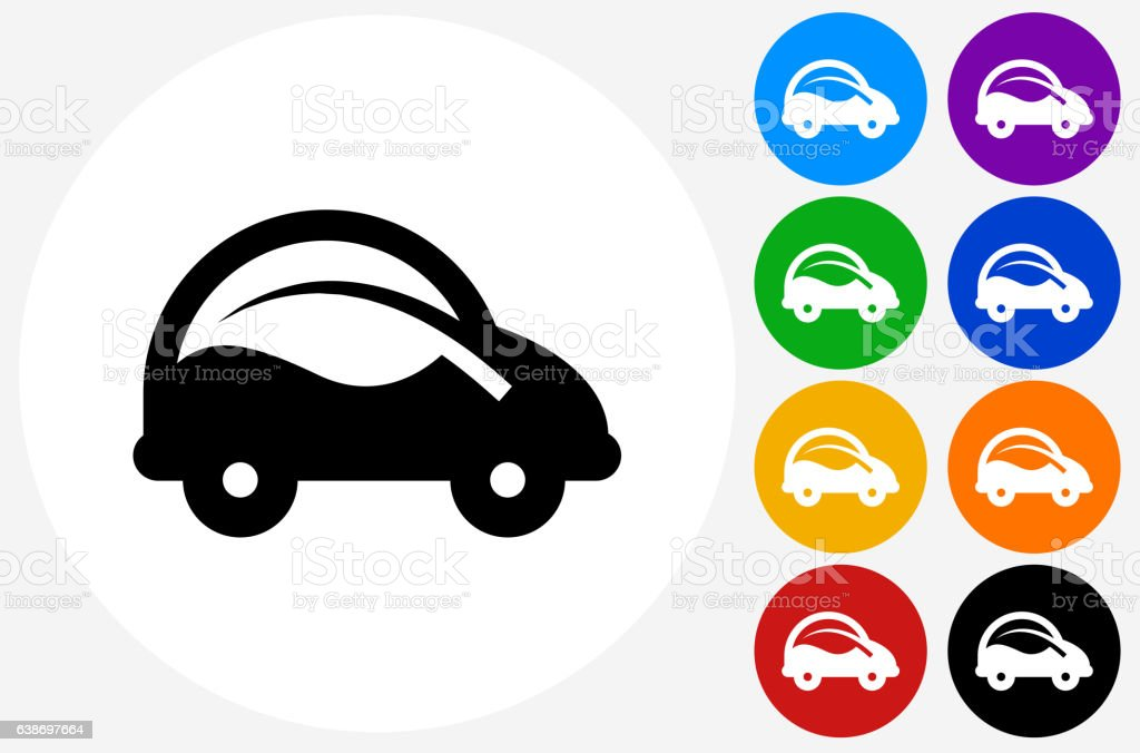 Car and Leaf Icon on Flat Color Circle Buttons vector art illustration