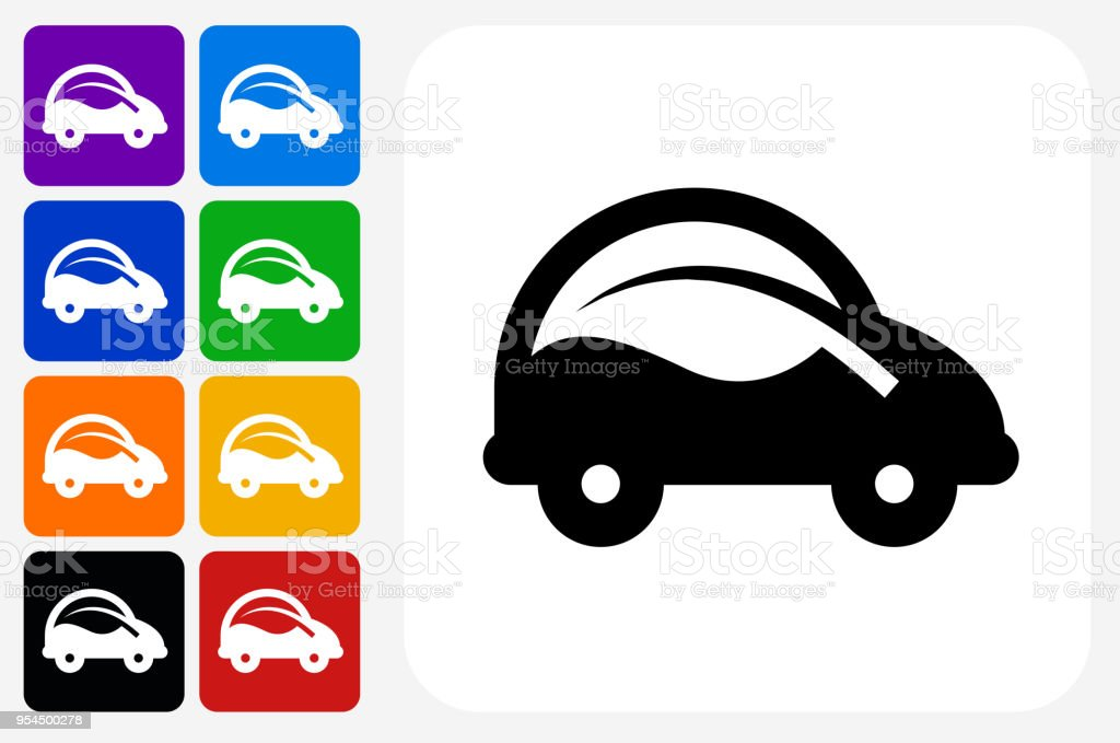 Car and Leaf Icon Square Button Set vector art illustration