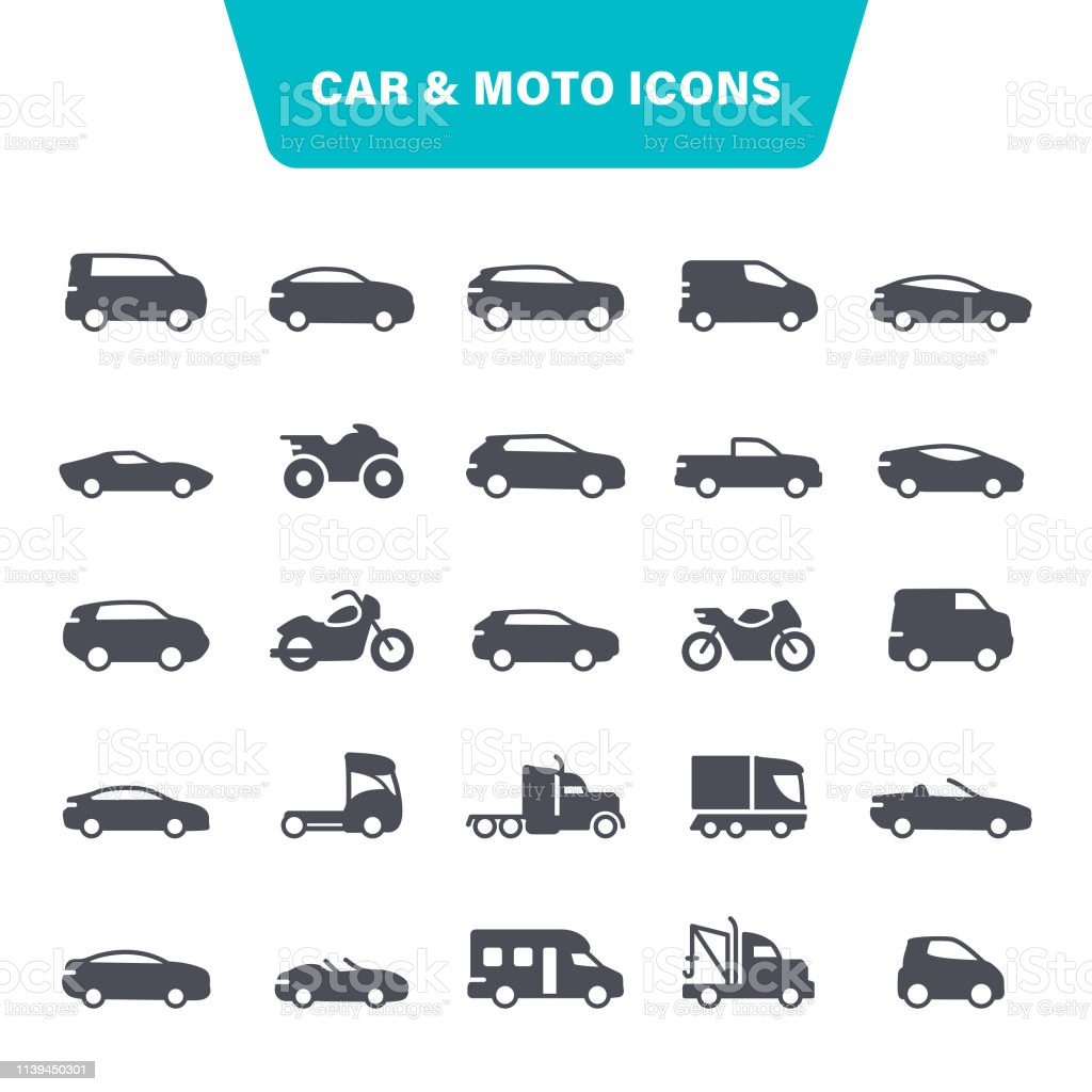 Car and Motorcycle Icons Transportation, Moto, Auto, Bicycle, Pick-up Truck, Icon Set 4x4 stock vector