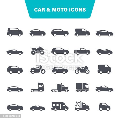 Transportation, Moto, Auto, Bicycle, Pick-up Truck, Icon Set