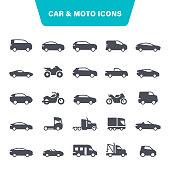Transportation, Moto, Auto, Bicycle, Pick-up Truck, Icon Set