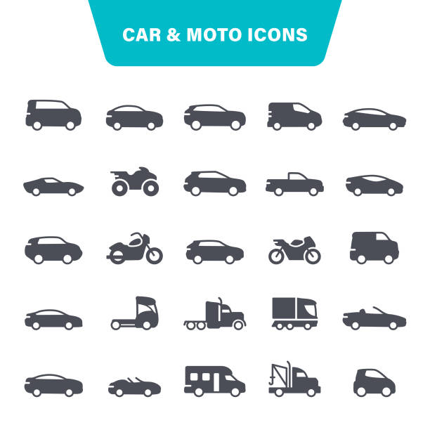 Car and Motorcycle Icons Transportation, Moto, Auto, Bicycle, Pick-up Truck, Icon Set car stock illustrations