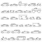 Car and Motorcycle type icons set. Vector black illustration isolated on white background. Variants of model automobile and moto body silhouette for web with title.