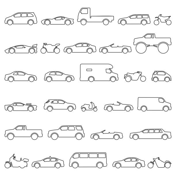 Car and Motorcycle type icons set. Title models moto and automobile Car and Motorcycle type icons set. Vector black illustration isolated on white background. Variants of model automobile and moto body silhouette for web with title. hatchback stock illustrations