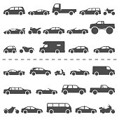 Car and Motorcycle type icons set. Vector black illustration isolated on white background . Variants of model automobile and moto body silhouette for web with title.