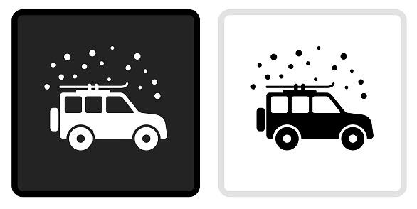 Car and Snow Icon on  Black Button with White Rollover
