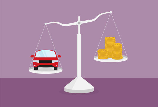Car and stack of money on the scale Adult, Adversity, Balance, Banking, Saving money, Coin, Auto loan, Leasing debt ceiling stock illustrations