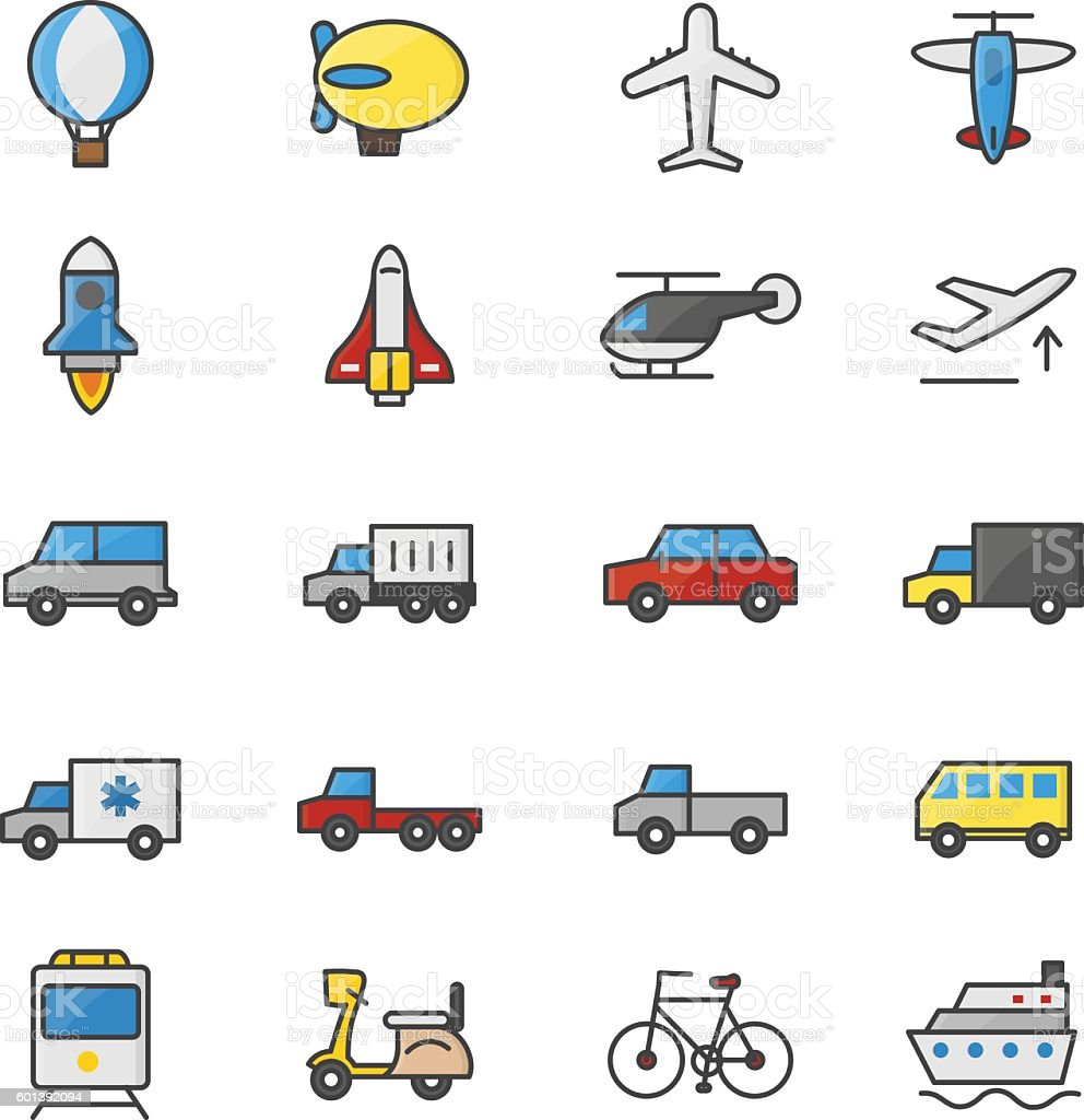 Car And Transportation Color Icons Set Of Vector Illustration Royalty Free
