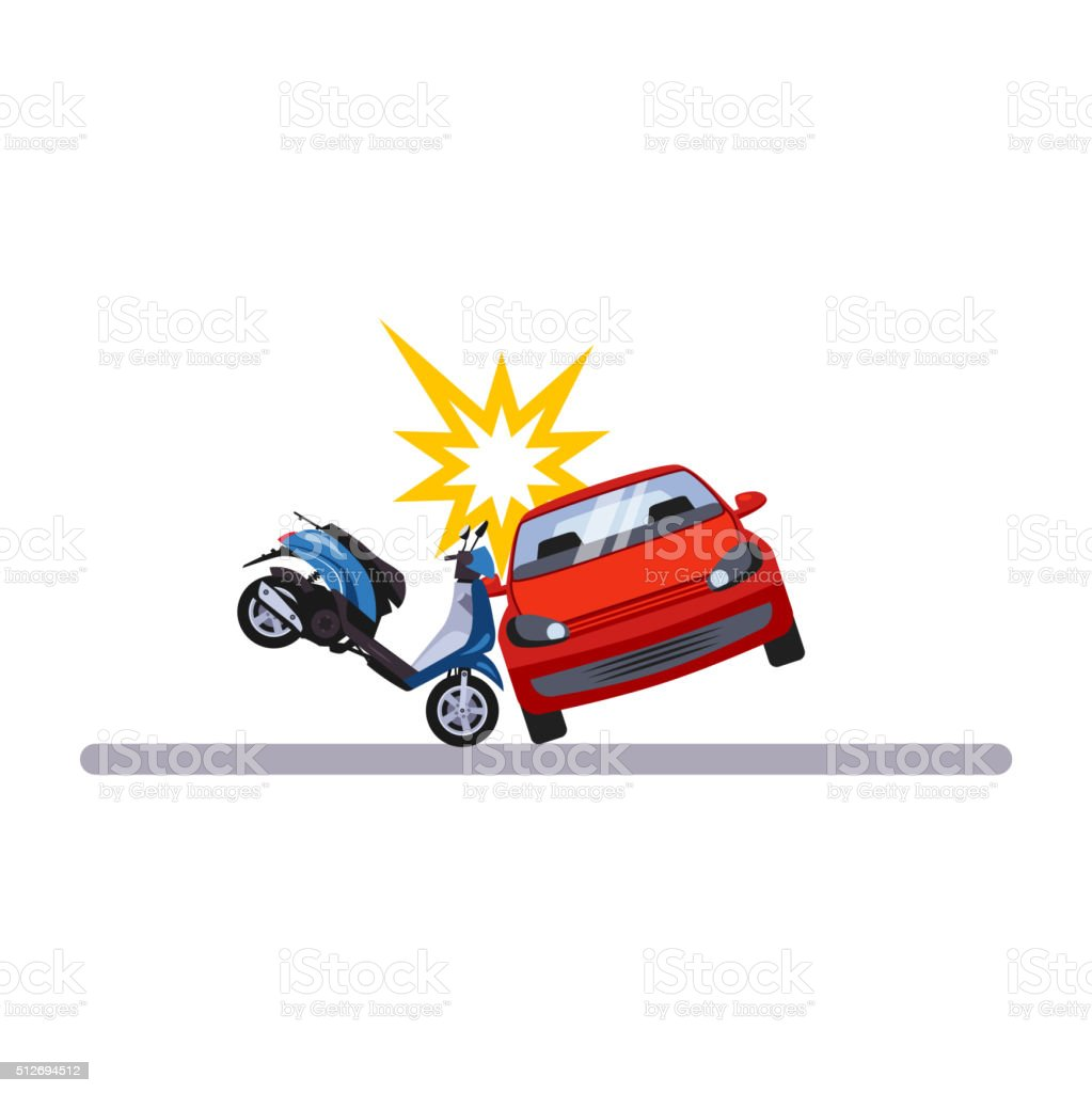 Car and Transportation Issue with a Moped. Vector Illustration vector art illustration