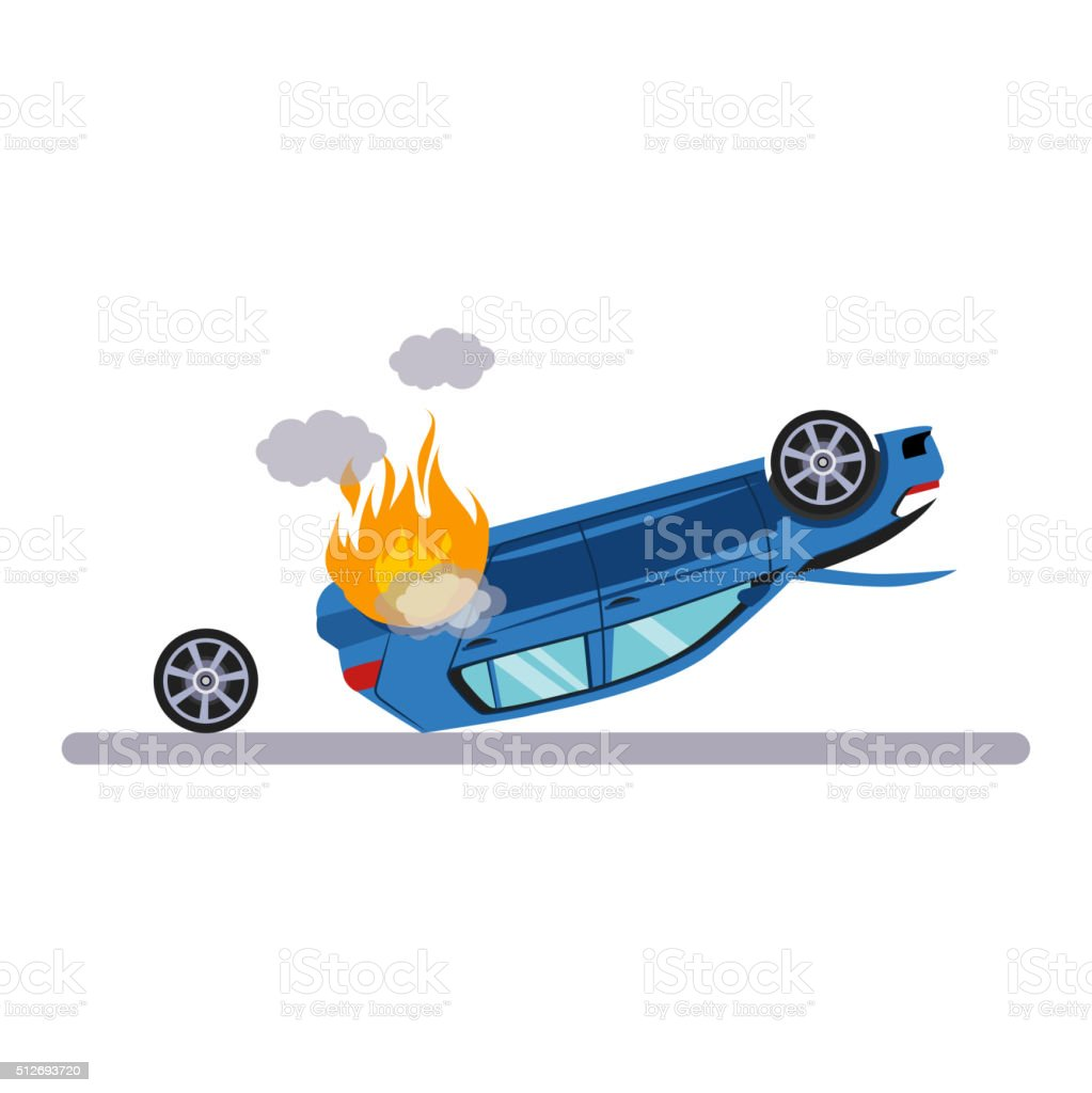 Car and Transportation Issue with Burning Car. Vector Illustration vector art illustration
