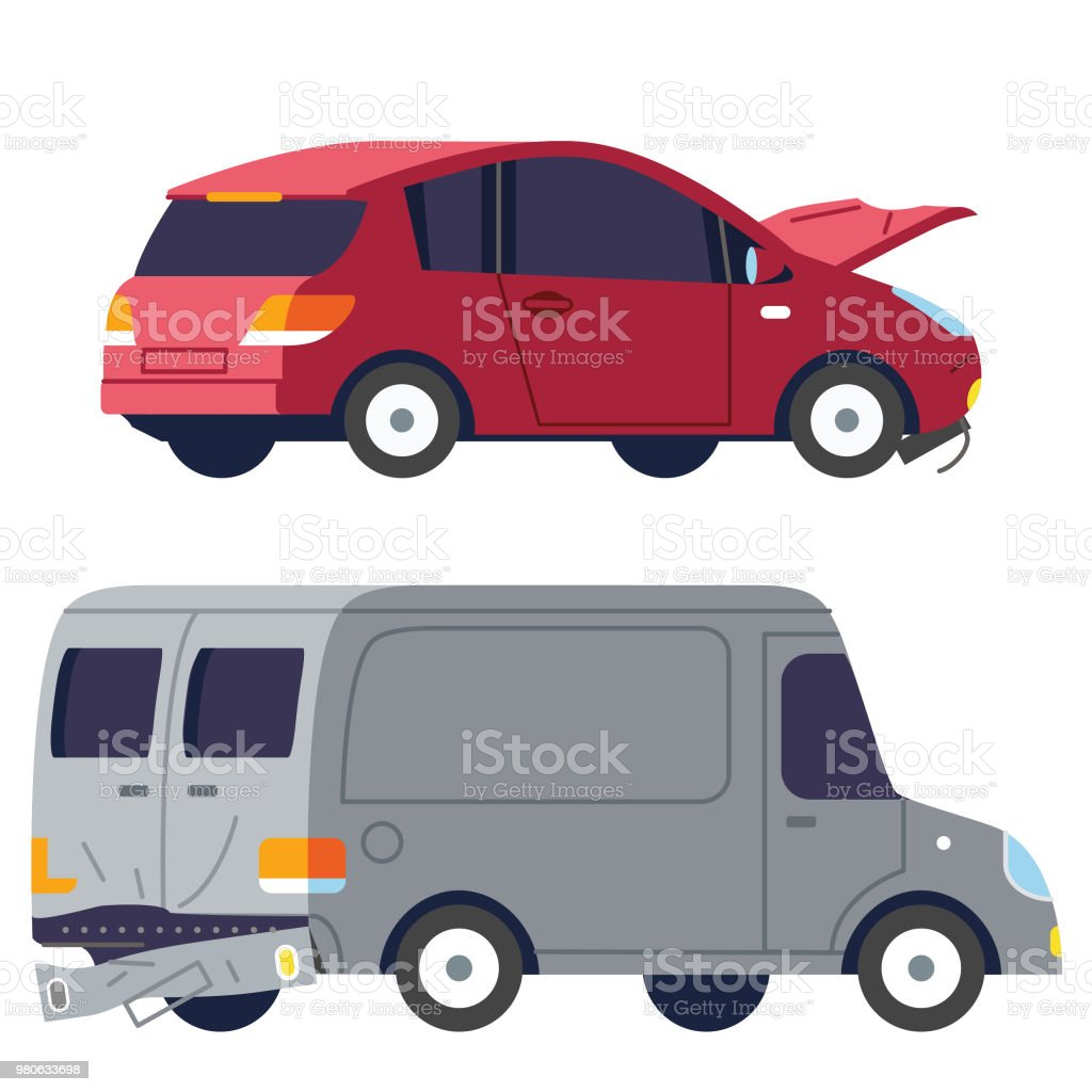 Car and truck collision vector art illustration