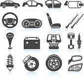 Car Assembly and Parts black and white royalty free vector interface icon set. This editable vector file features black interface icons on white Background. The interface icons are organized in rows and include car, assembly line, car manufacturing, steering wheel, reclining car seat, gear shift, car engine, motor, windshield wipers, car breaks, car mirror and automotive head lights. Can battery and other automotive parts are also included.