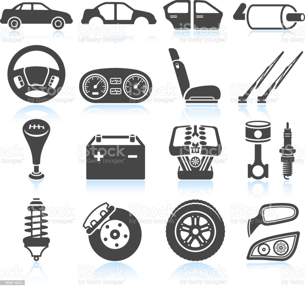 Car Assembly and Parts black & white vector icon set vector art illustration