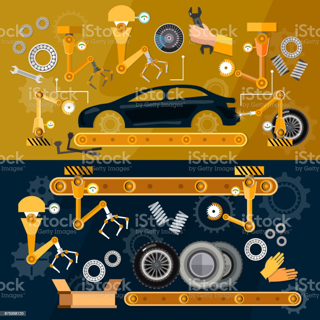 Car assembly line  auti conveyor belt, yellow robots welding cars in a production line vector art illustration