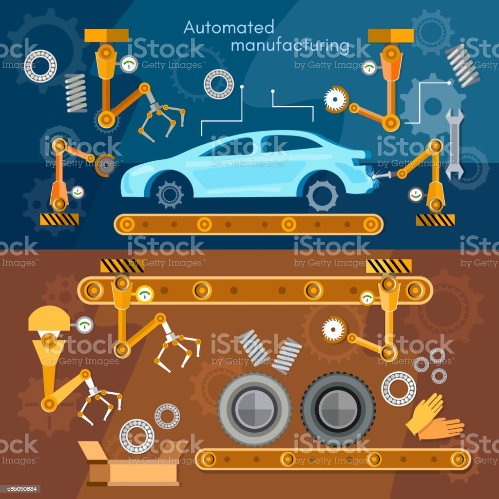 Car assembly line banner automotive industry conveyor belt vector art illustration