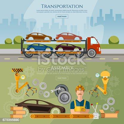 istock Car assembly line banner, conveyor belt operator automotive industry, сar transport truck vector illustration 675355690
