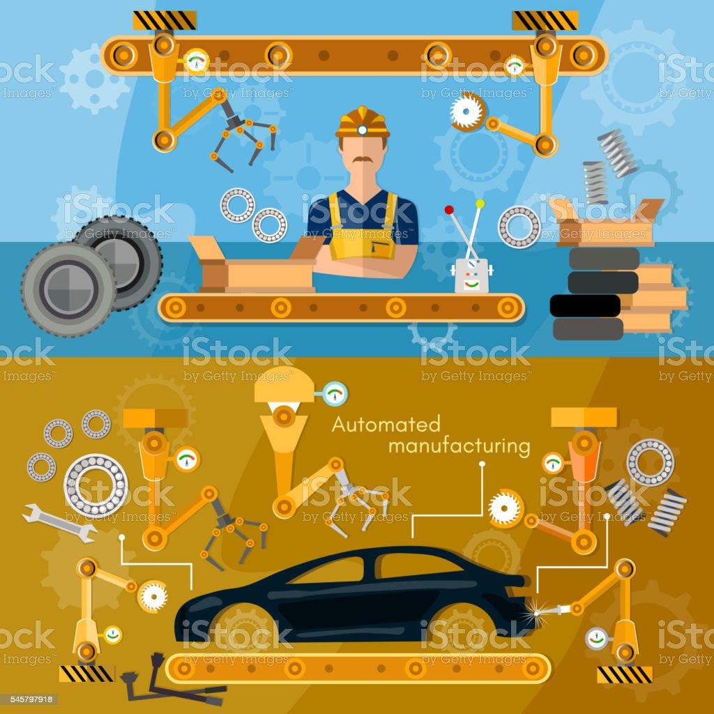 Car assembly line banner conveyor belt operatorvectorkunst illustratie