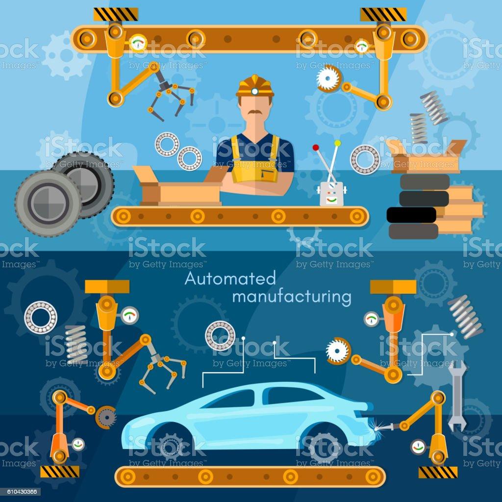 Car assembly line banner conveyor belt vector art illustration