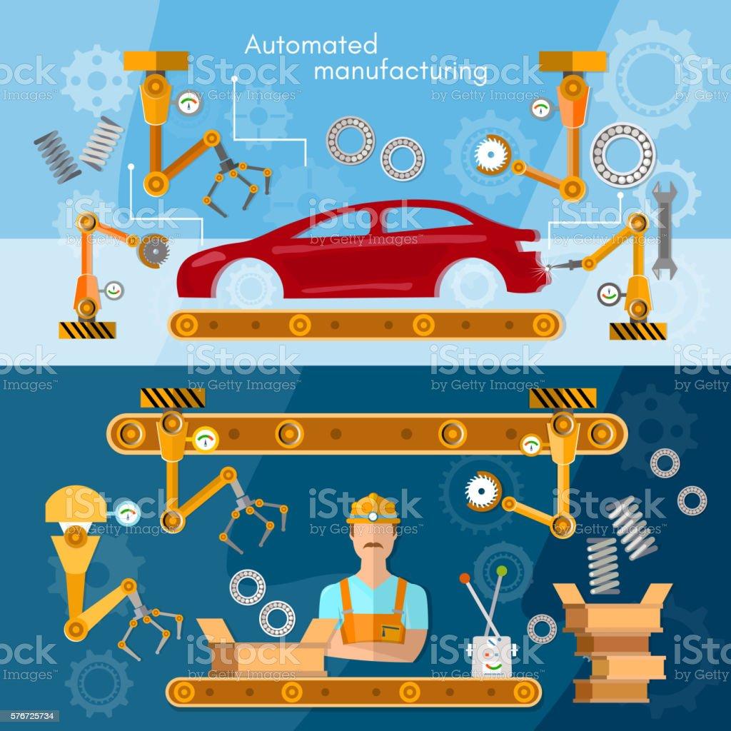 Car assembly line banner operator automotive industry vector art illustration