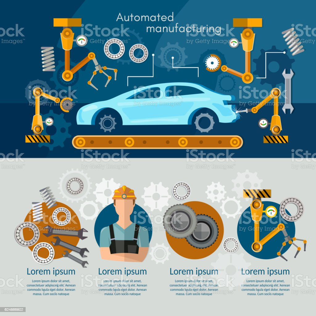 Car assembly line concept conveyor belt set vector art illustration
