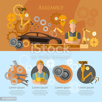821521124 istock photo Car assembly line infographics conveyor belt operator automotive industry. Industrial automation conveyor robotic hands for manufacture 675356028