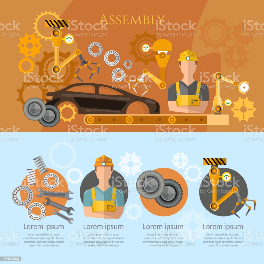 Car assembly line infographics conveyor belt operator automotive industry. Industrial automation conveyor robotic hands for manufacture vector art illustration