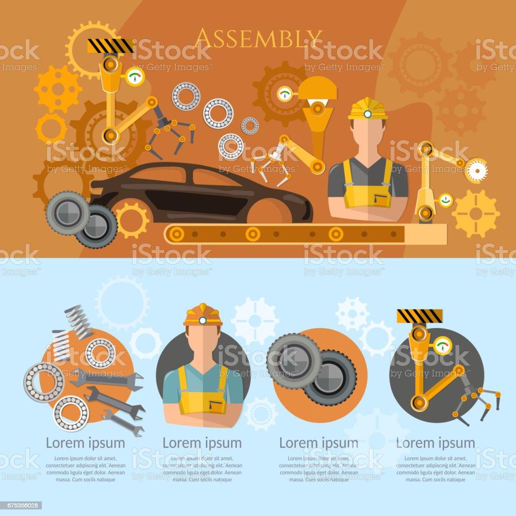 Auto assemblagelijn infographics transportband riem exploitant auto-industrie. Industriële automatisering transportband robot handen voor de vervaardigingvectorkunst illustratie