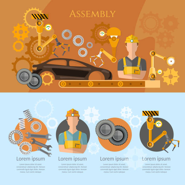 Car assembly line infographics conveyor belt operator automotive industry. Industrial automation conveyor robotic hands for manufacture Car assembly line infographics conveyor belt operator automotive industry. Industrial automation conveyor robotic hands for manufacture automobile industry stock illustrations