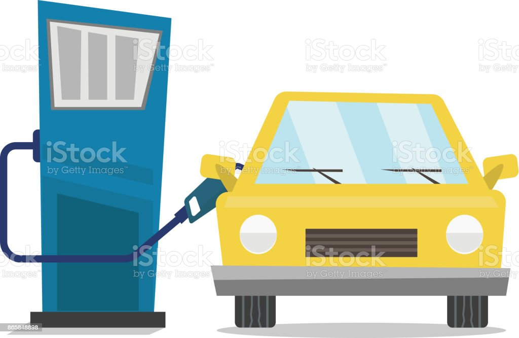 Car At Gas Station Being Filled With Fuel Stock Illustration Download Image Now Istock