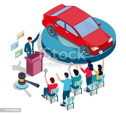 Auto sale auction, vector illustration. Isometric red car on podium, auctioneer with gavel and people with bid paddles. Auction and bidding composition for web banner, website page etc.