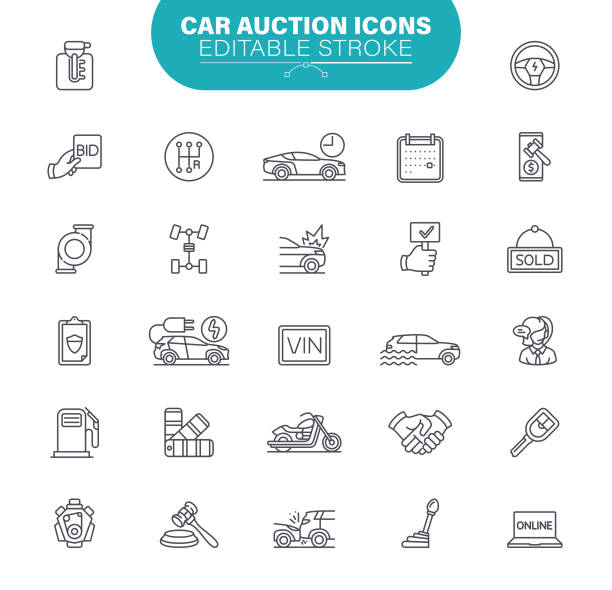Car Auction Icons. Set contains icon as Transportation, Bidding, Sold, Auction hammer, Vehicle, Illustration vector art illustration