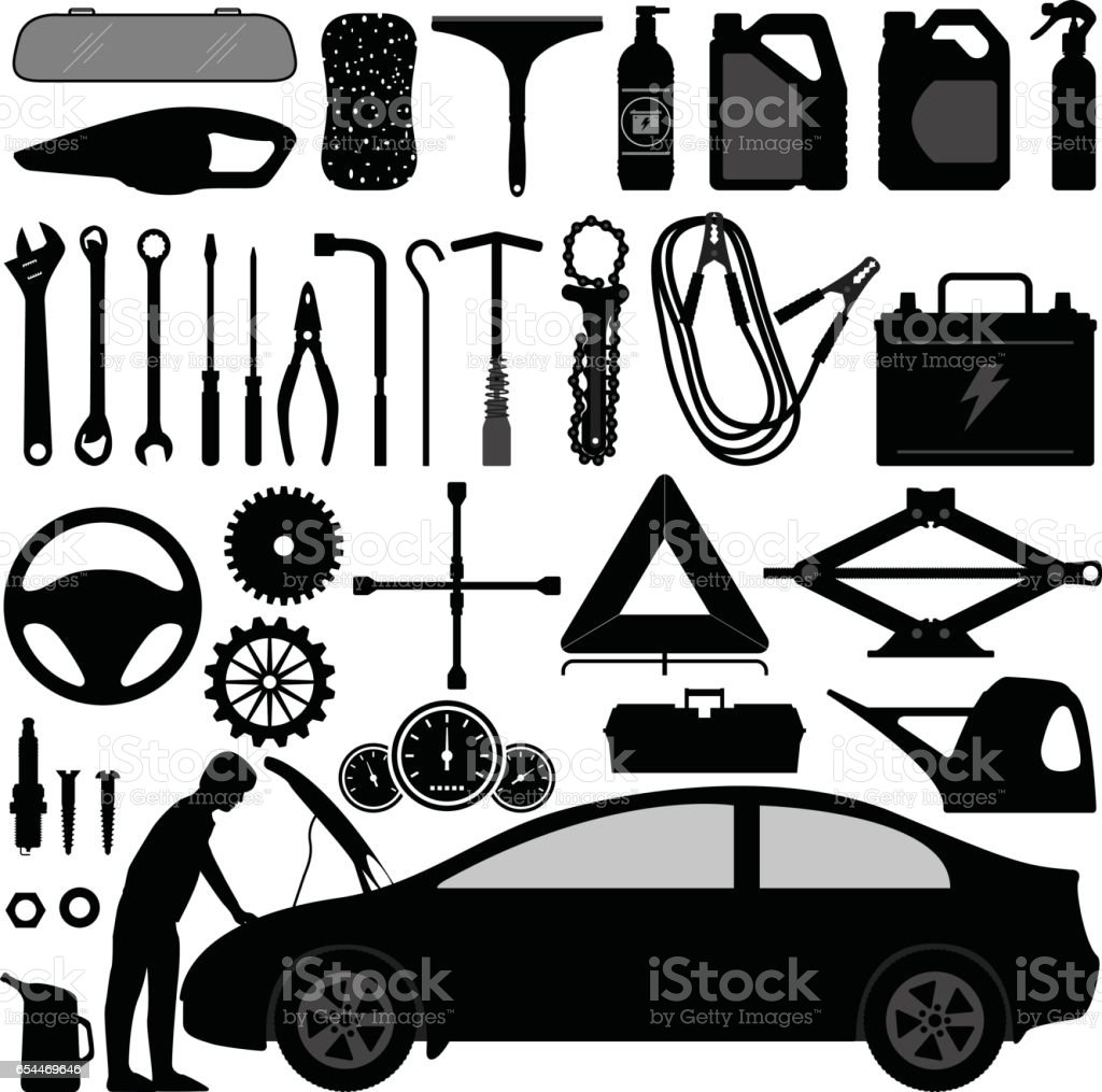 Auto Auto-Zubehör-Reparatur-Tool in Silhouette Vektor – Vektorgrafik