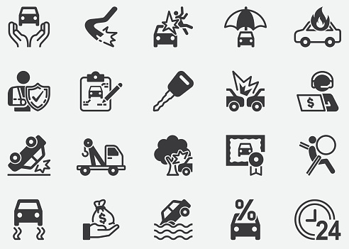Car, Auto Insurance ,Accident, insurance agents, happy couple, car insurance, insurance plan, money, family, insurance agent.Pixel Perfect Icons